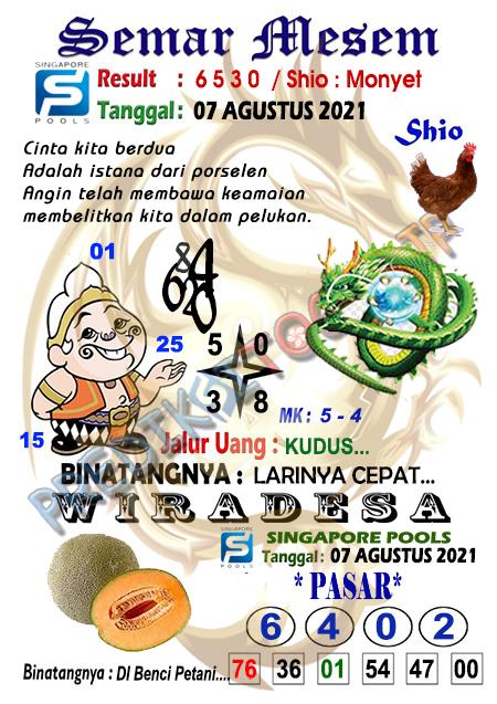 Syair Semar Mesem SGP Sabtu 07-08-2021