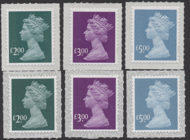 2019 Walsall printings of Machin High Value stamps compared with original De La Rue printings.