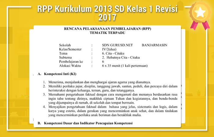 RPP Kurikulum 2013 SD Kelas 1 Revisi 2017