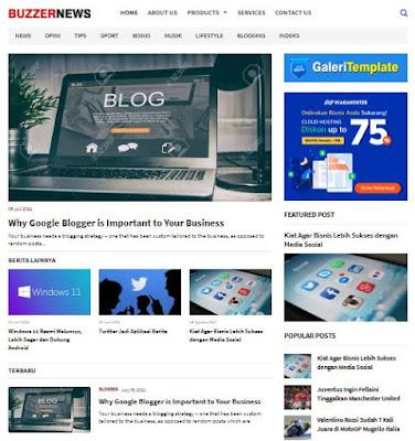Buzzer News Blogger Template SEO Friendly