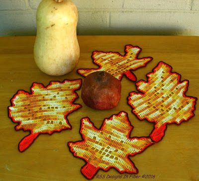 Fall Colors Maple and Oak Leaves Crochet Coasters - Handmade By Ruth Sandra Sperling at RSS Designs In Fiber
