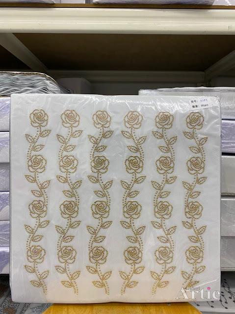 Pelekat Sticker hotfix dmc tudung bawal bunga rose dengan 2 daun