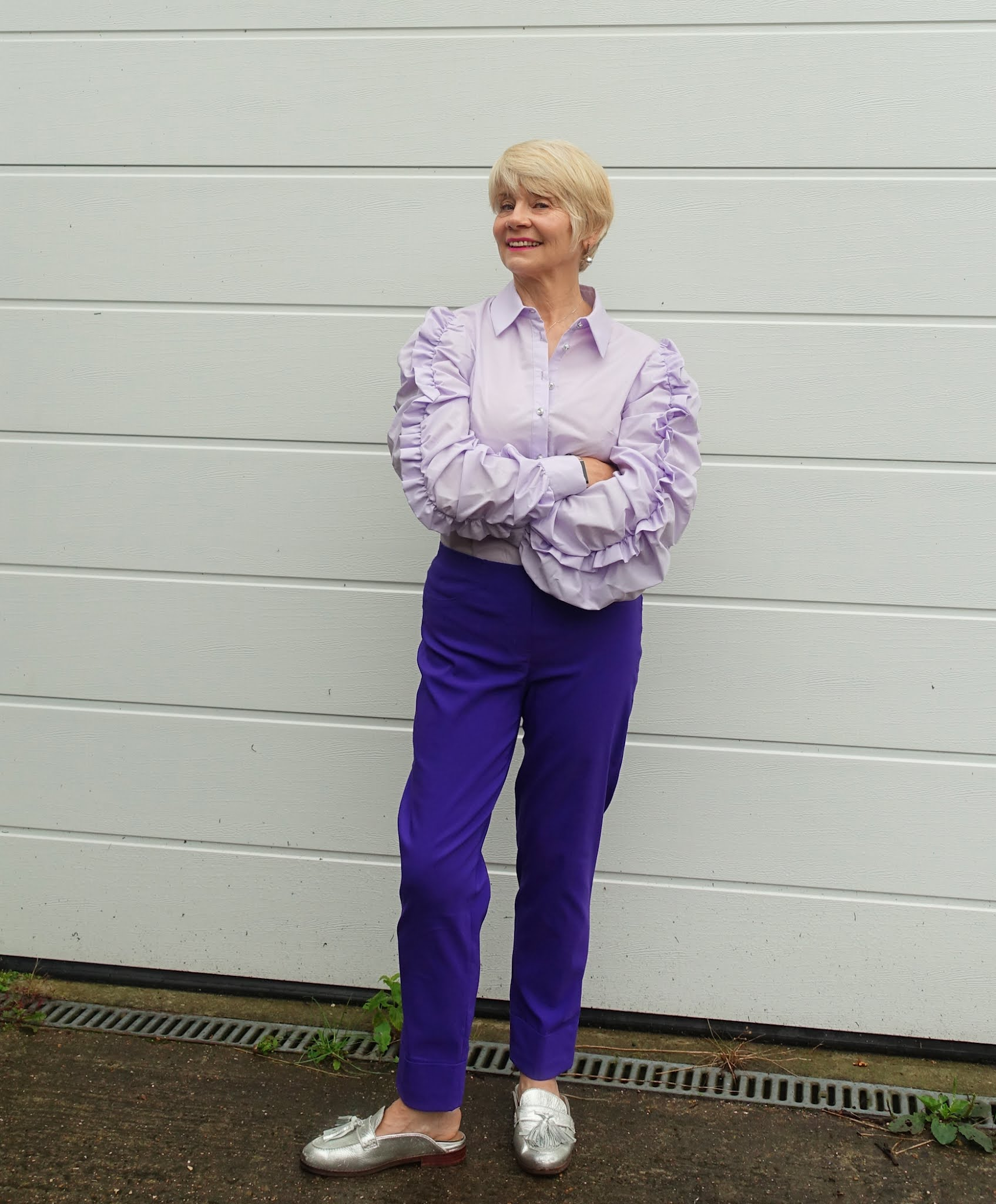 Dramatically ruched sleeves make a statement on this lilac blouse worn by over 60 style blogger Gail Hanlon from Is This Mutton
