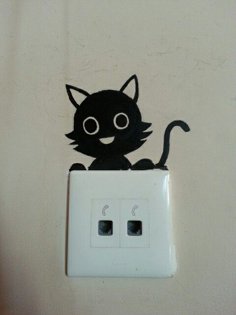 Easy Wall Painting On Switchboard Cat