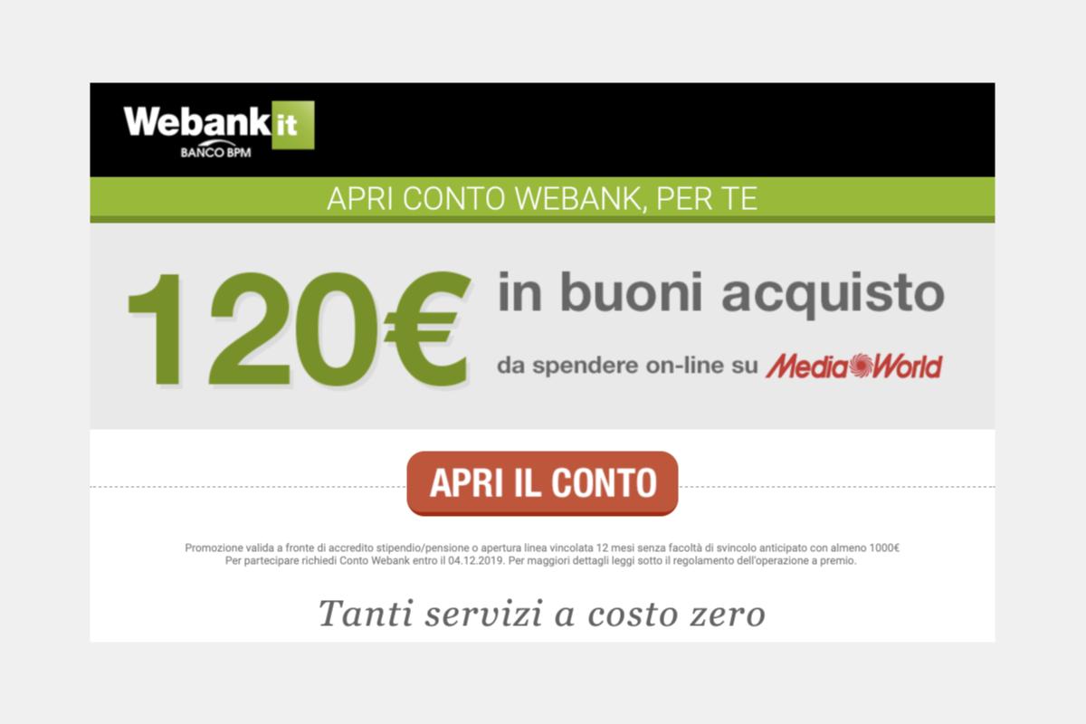 Come ricevere 120 euro da Webank