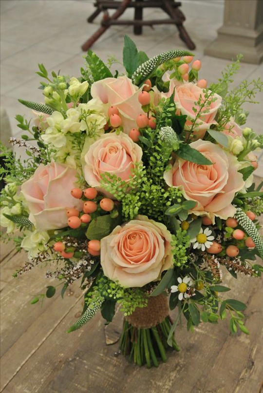 Cream-and-Blush Garden Rose spring wedding Bouquet