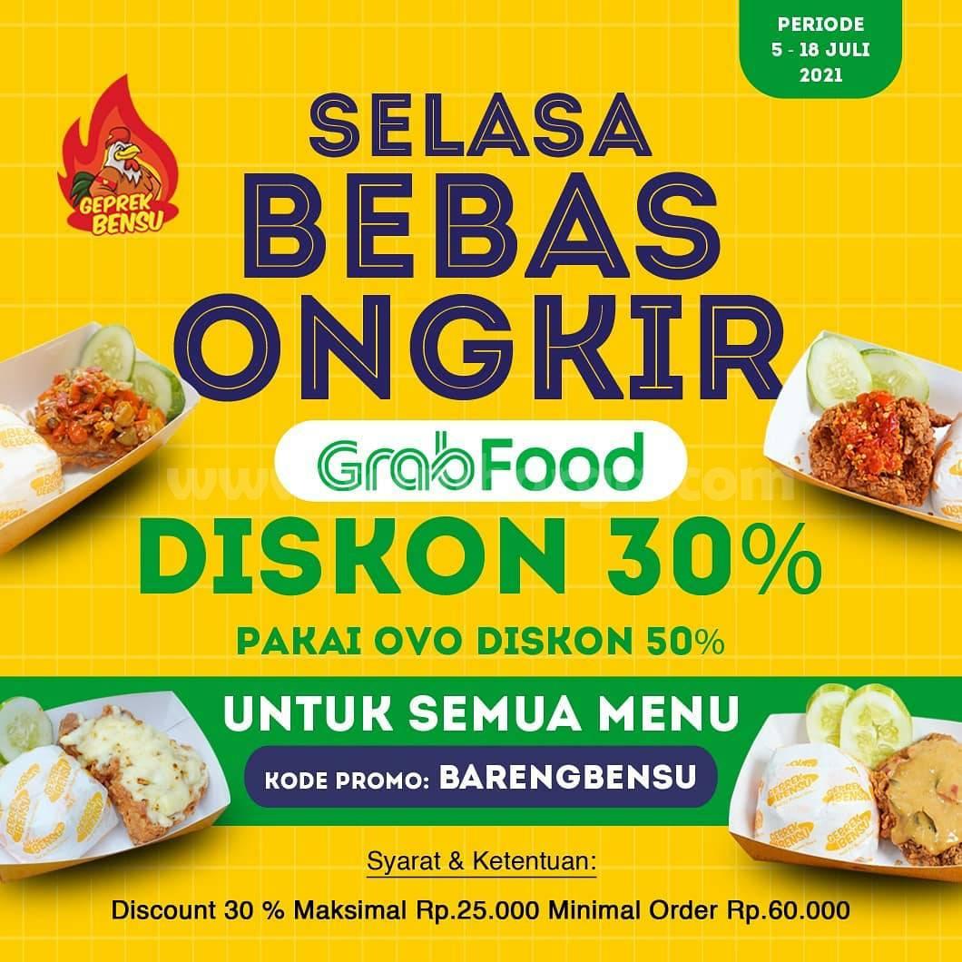 GEPREK BENSU Promo DISKON 30% + Gratis Ongkir via Grabfood
