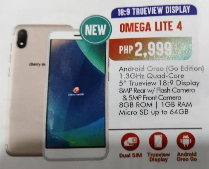 Cherry Mobile Omega Lite 4; 18:9 TrueView Display, Android 8.1 Oreo Go Edition for Php2,999