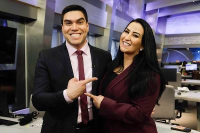 Os apresentadores, em São Paulo,  durante a gravação das chamadas de seus programas.  Crédito: Antônio Chahestian/Divulgação Record TV