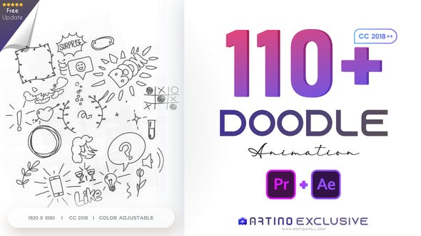 Videohive - 110 Animated Doodles Pack - 28732986