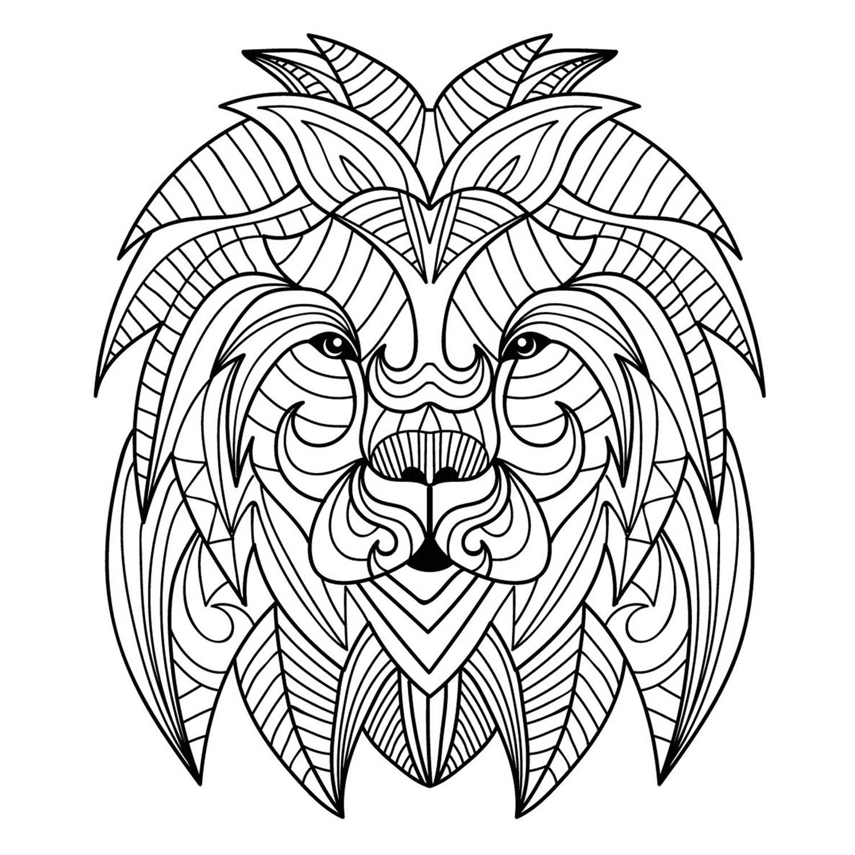 Tranh tô màu con sư tử 7