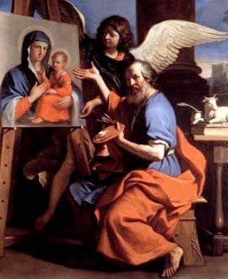 San Lucas pintando a la Virgen María con el niño Jesús