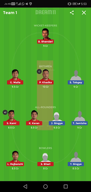 "Nep vs Bhu Dream11 team"" ""Bhu vs Ne Dream11 Team"""