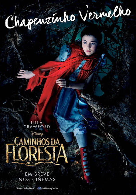 """""""Caminhos da Floresta"""" (Into The Woods) posteres brasileiros Lilla Crawford"""