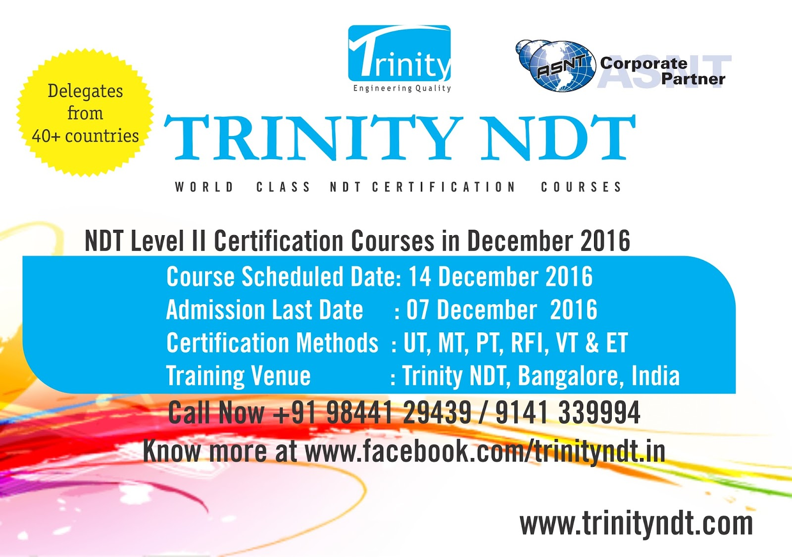 Nabl ndt labs ndt welding inspection training chennai mumbai ultrasonic radiography eddy current magnetic particle dye penetrant visual testing level 2 certifications trinity ndt bangalore india aiddatafo Gallery