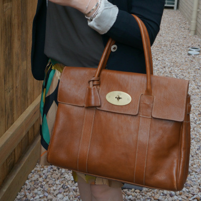 autumnal coloured outfit with mulberry heritage bayswater tote bag | away from the blue