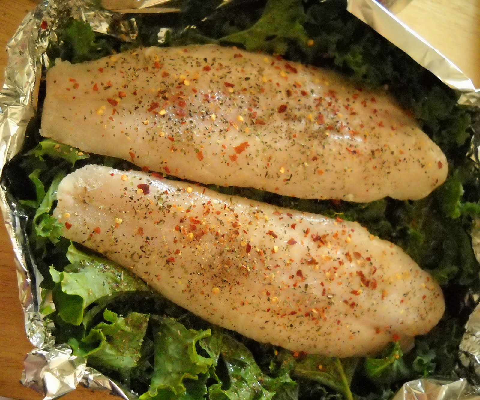 Life Food And Cooking Baked White Fish With Kale
