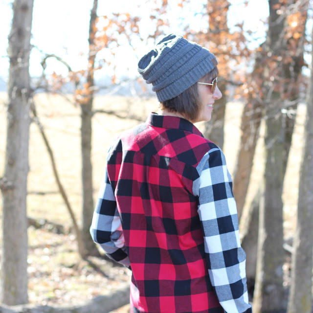 Grainline Archer Shirt from Mood Fabrics' Buffalo Check Flannel - back view
