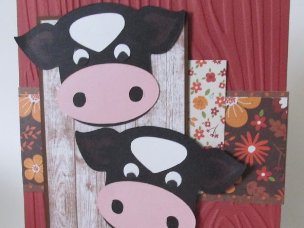 Down on the Farm Cows Handcrafted Card