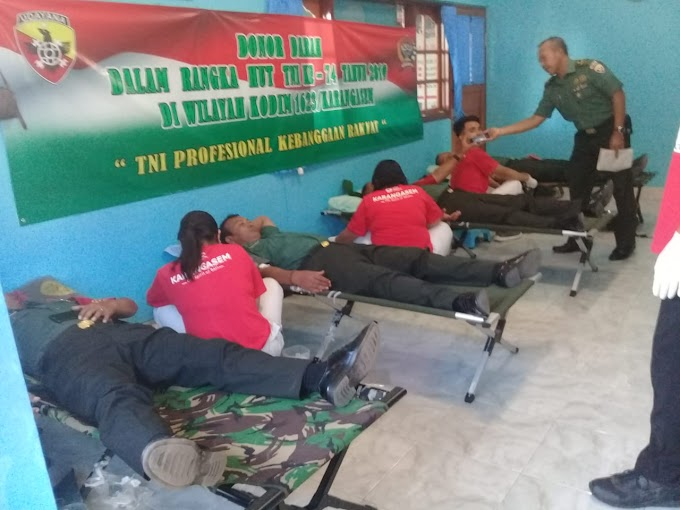 Sambut HUT TNI Ke-74, Kodim Karangasem Bersama PMI Gelar Donor Darah