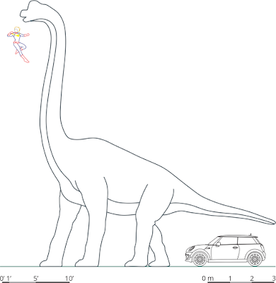 Scale drawing comparing a Mini Cooper, Captain Marvel, and brachiosaur