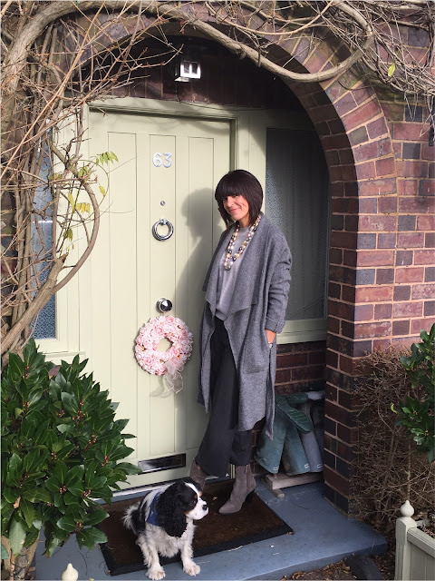 My Midlife Fashion, Mulit coloured pearl necklace, zara draped wool coat, marks and spencer pure cashmere crew neck jumper, zara cropped trousers, zara cowboy heeled ankle boots