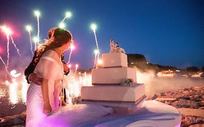 fuochi d'artificio taglio torta matrimonio