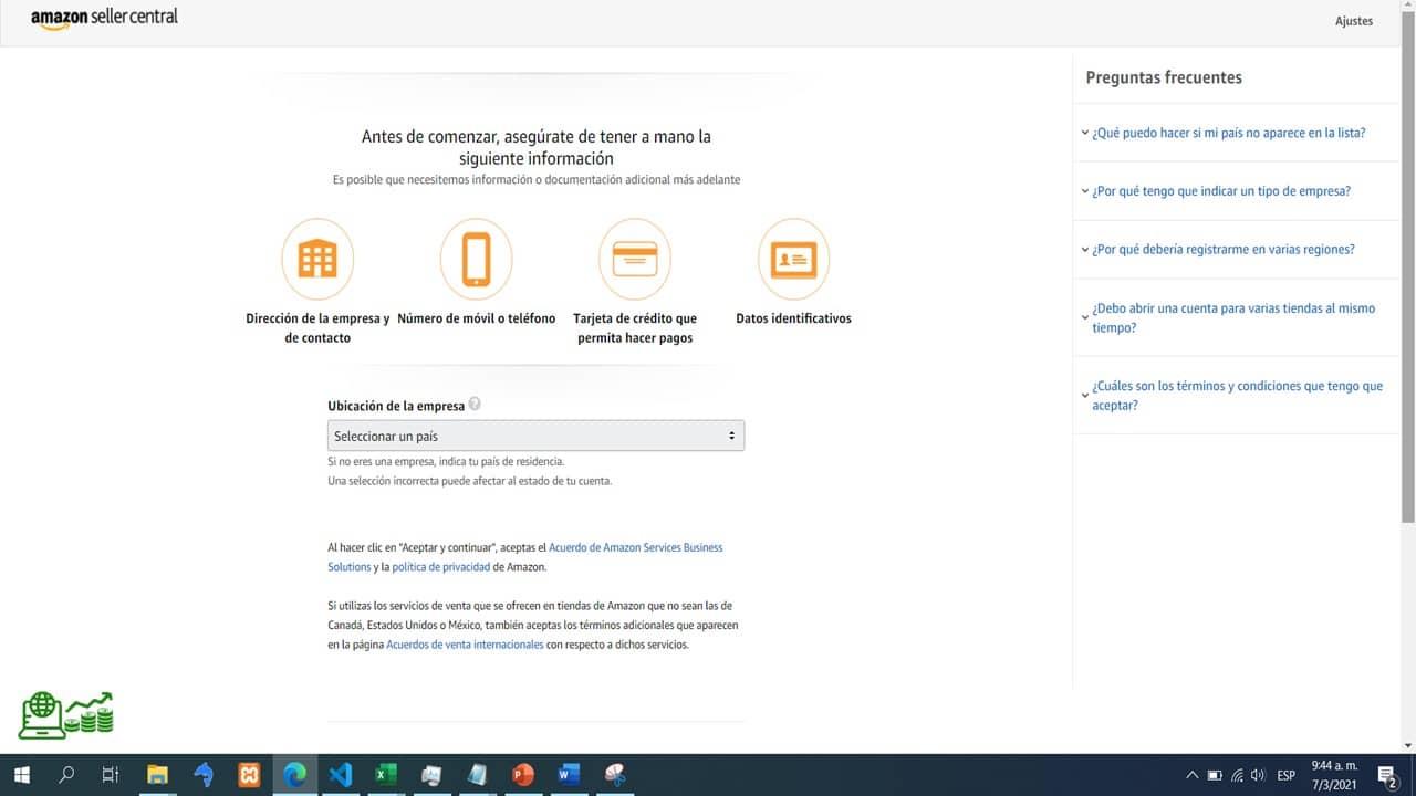 pagina web central de vendedores de Amazon