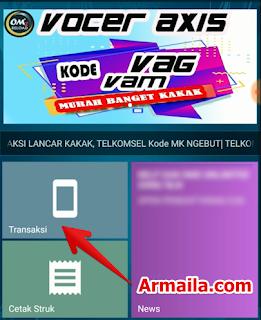 Cara Daftar dan Isi Paket 17GB Telkomsel klik menu transaksi.png