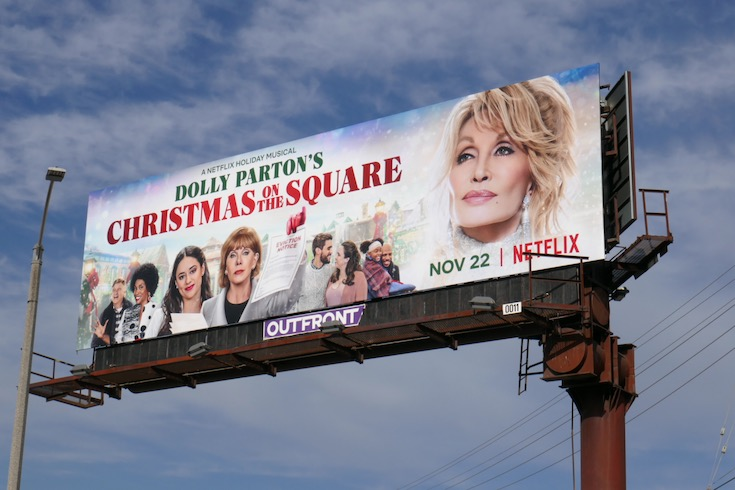 Dolly Partons Christmas on Square billboard