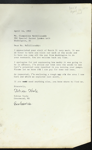 Fake 1952 letter from Tobias to Clementine saying he appreciated her visit and he's sorry she ruined her shoes. He also references the map he included.