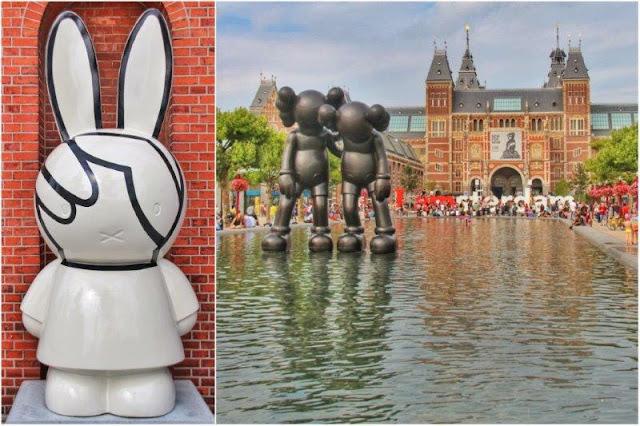 Miffy Art Parade, Nintje for peace de Irma Boom – Lago artificial en Museumplein de Amsterdam con escultura Along the Way de KAWS, Art Zuid, Letras I amsterdam, Museo Rijksmuseum