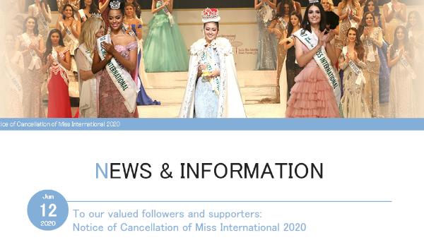 Miss Internacional cancela su edición 2020 por el COVID‑19