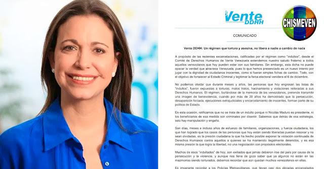 Maria Corina Advierte | Liberaciones no pudieron ser hechas a cambio de nada