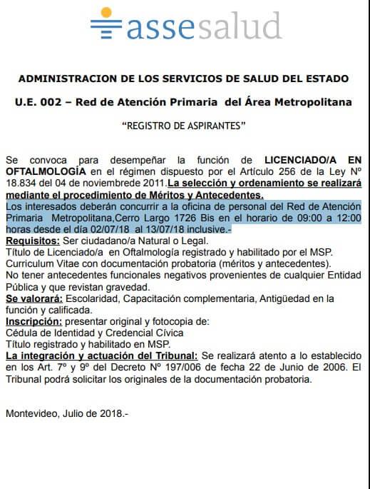 Licenciados en Oftalmología