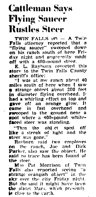 Cattleman Says Flying Saucer Rustles Steer - Nampa Idaho Free Press 9-10-1956
