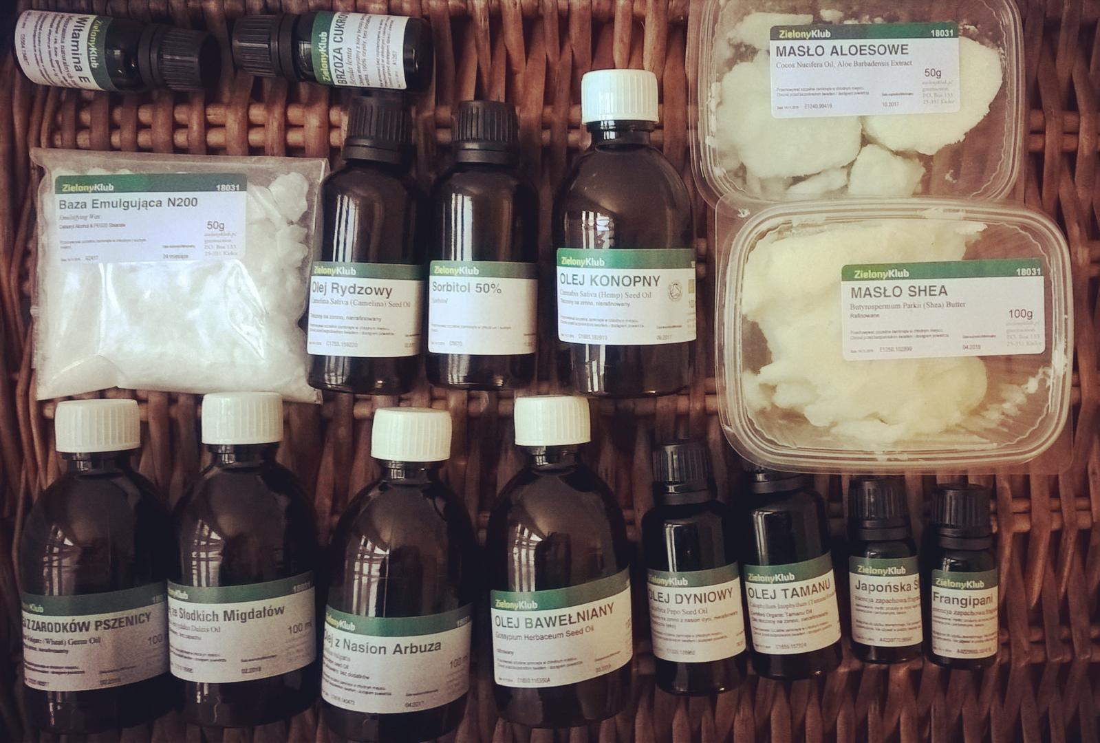 Zielony Klub oleje, półprodukty do kosmetyków