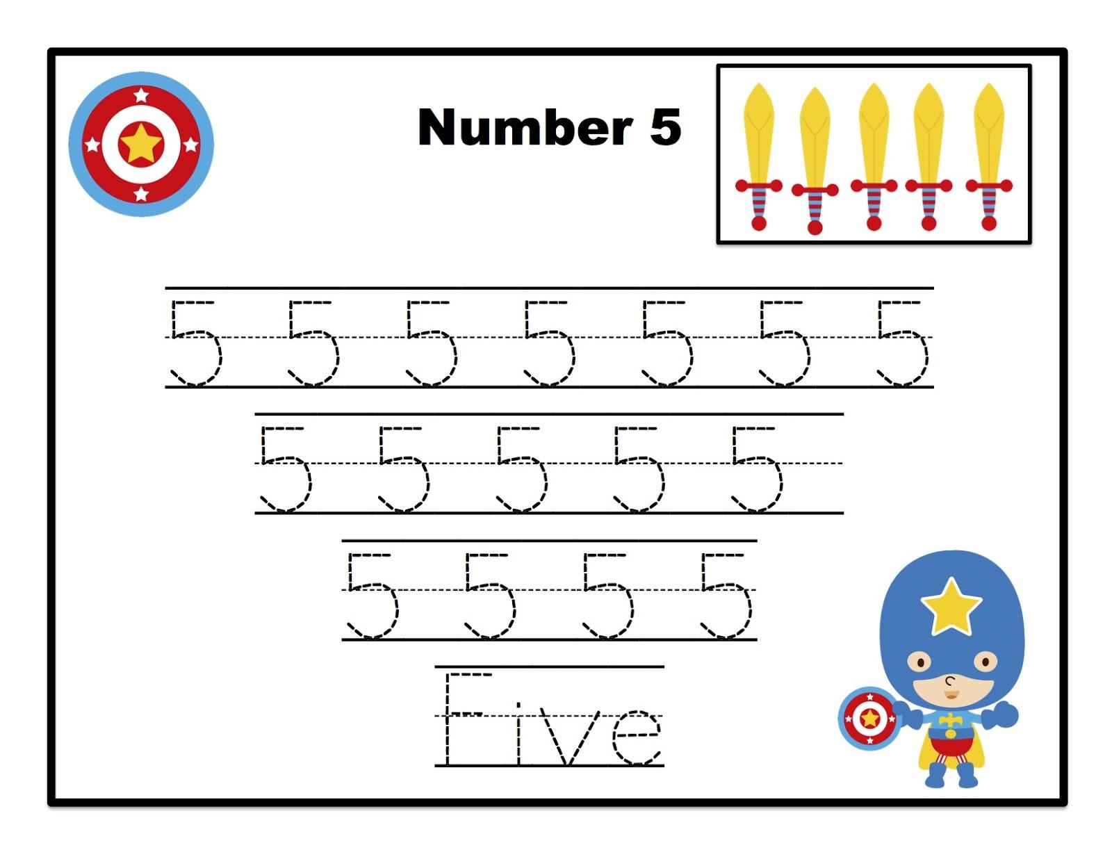Super Heroes Learn Numbers Preschool Printables