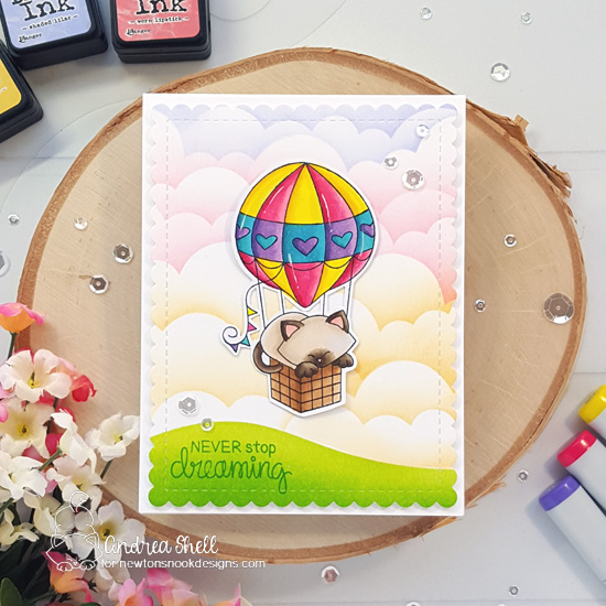 Never Stop Dreaming! Kitty in hot air balloon card by Andrea Shell | Newton Dreams of Paris Stamp Set and Clouds and Hills & Grass Stencils by Newton's Nook Designs #newtonsnook #handmade