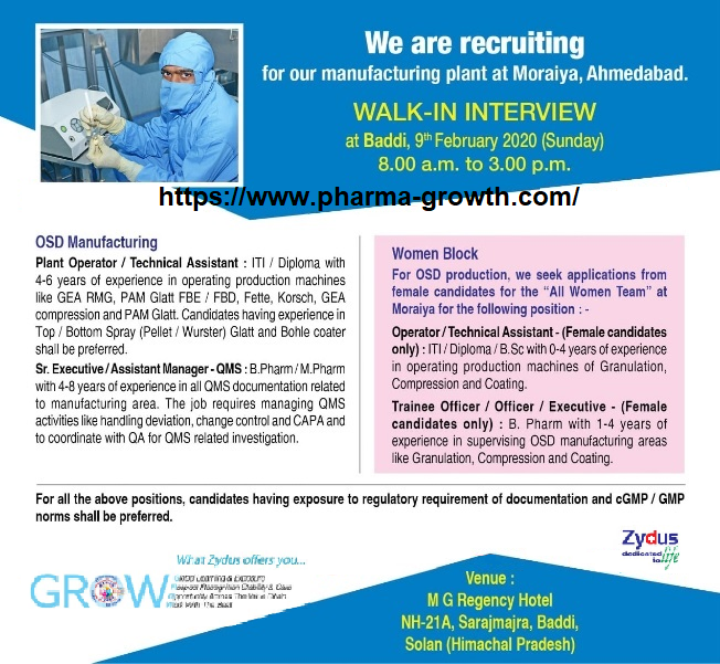 Cadila Healthcare - Walk-In Interview for Multiple Positions on 9th Feb' 2020