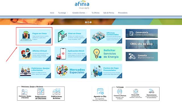 Factura Afinia Pago en Linea PSE 2021