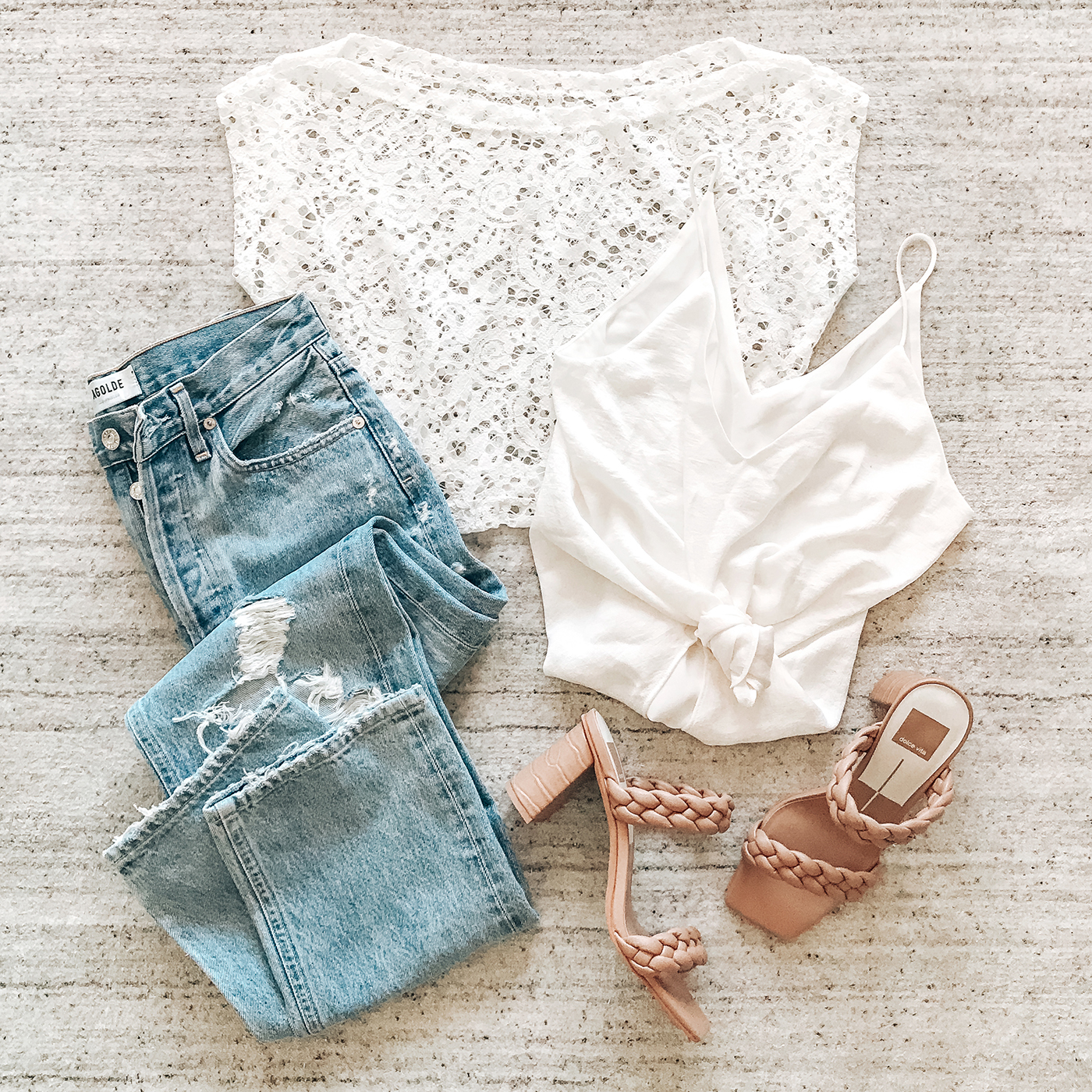 lace top, 90s loose fit jeans, braided dolce vita sandals, spring trends 2021