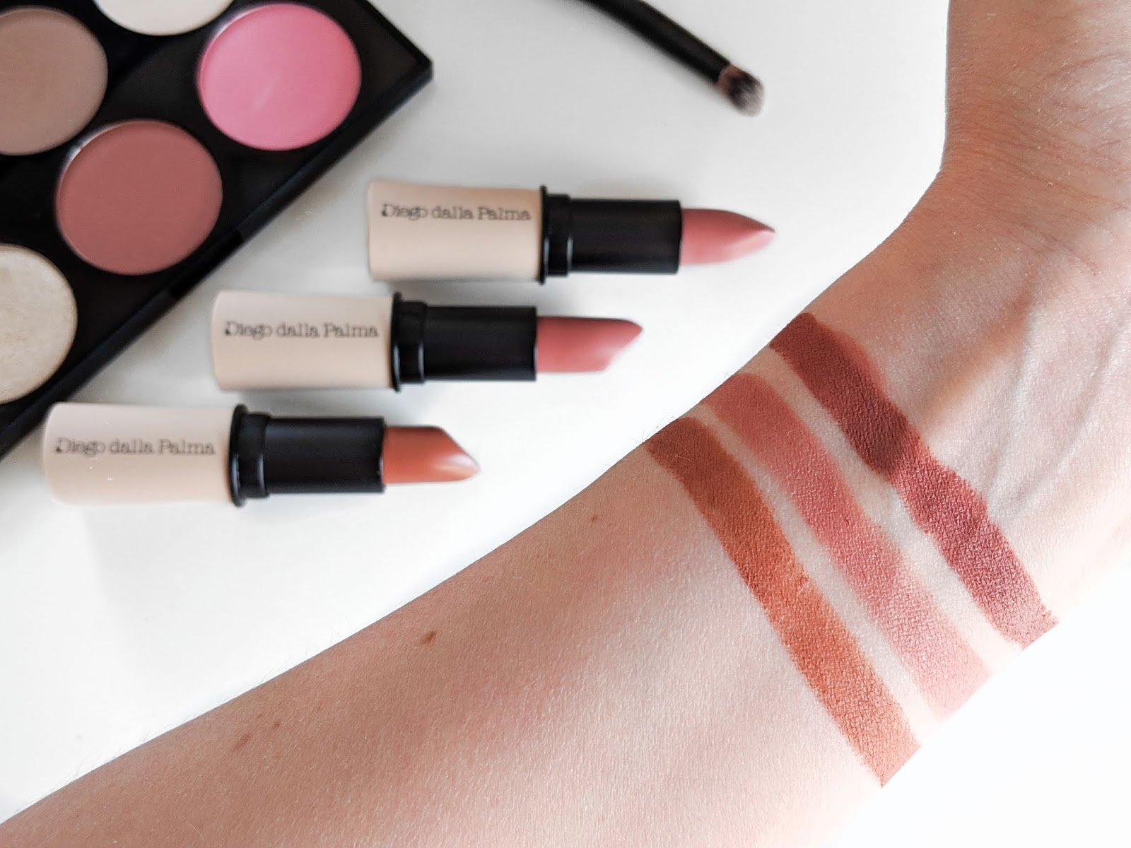 Image showing swatches of three shades of Diego Dalla Palma Nudissimo Lipsticks