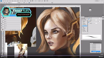 "Painting ""Mercy"" from ""Overwatch"" on Photoshop video."