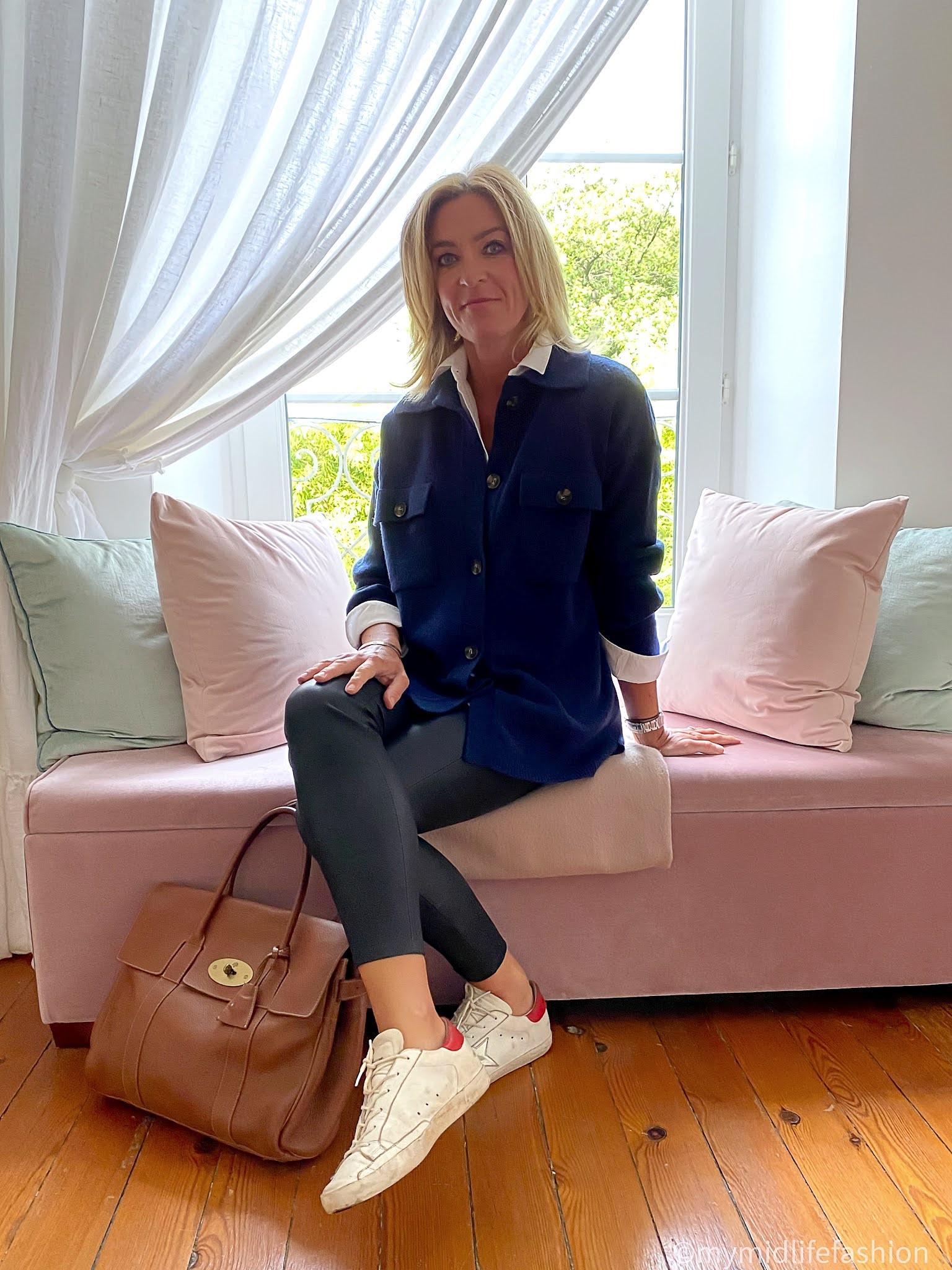 my midlife fashion, Baukjen gabby lambswool shacket, Baukjen shirt, Uterque leather leggings, golden goose superstar low top leather trainers, mulberry bayswater handbag
