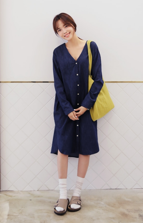 V-Neck Button Denim Dress