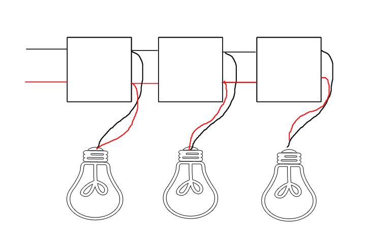 ... Dominos ( Ju0027ai Essayé De Te Faire Un Schéma Simplifié), Le Tout à  Mettre Dans La Boite De Dérivation Et Enfin Monter Les Douilles Sur Le  Câble Textile.