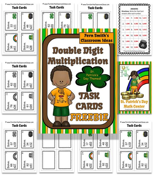 FREE Two Digit By Two Digit Multiplication St. Patricks Day Task Cards