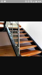 tangga rebah+reling kaca+tangga stainles
