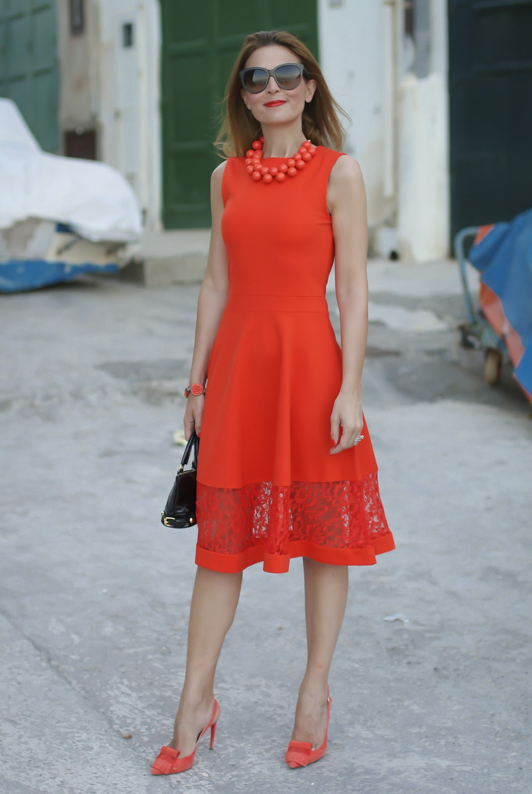 Gucci coral dress on Fashion and Cookies fashion blog, fashion blogger style